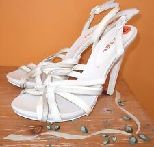 WOMENS DIESEL HEELS SHOES WHITE LEATHER SANDALS PUMPS Vero Cuoio ITALY 10 $210