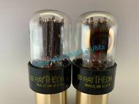 TESTS NOS RAYTHEON 6SN7GTB SHORT BOTTLE SIDE GETTER TUBES PLATINUM MATCHED PAIR
