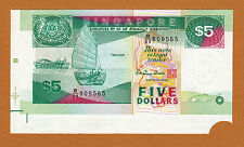 Singapore 1989 Ship $5 Massive Extra Paper ERROR ? Pick-19 UNC