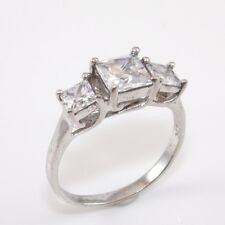 Sterling Silver CZ Past Present Future Anniversary Engagement Ring Size 7.75 XR