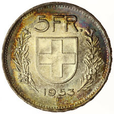 1953 Swiss 5 Francs UNC + Toned ~ KM#40 Silver Coin