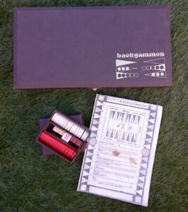 Vintage BACKGAMMON Board Game in Hard Brown Carry Case - Travel Strategy Game