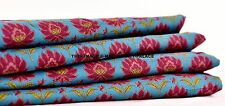 Green Dress Making Printed Fabric Cotton Floral Indian Crafting Material By 1 YD