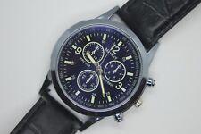 Brand New Genuine Leather Quality Black Dial Men's Fashion Watch Quartz Battery