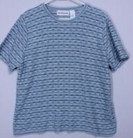 Alfred Dunner Women's Size Small Pullover Shirt, Blue & White Striped Top