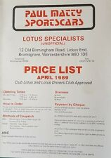 Paul Matty Lotus Cars Specialist Price List