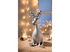 Elch Figur Dekofigur Elch Hirsch Weihnachtsdeko sitzend Silber 23cm Glitzer Neu