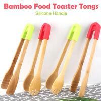 2*Tong Toast Wood Tea Food Bacon Wooden Sugar Pliers Bamboo Toaster Sausage EL