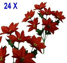 "Lot 24 Bushes 144 Red Poinsettias 14"" Christmas Holiday Silk Flower Home Decors"