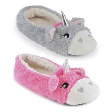 SlumberzzZ Ladies Cute Fluffy Faux Fur Unicorn Ballerina Slippers - 3 UK Sizes