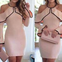 Women Off Shoulder Bodycon Long Sleeve Evening Party Cocktail Short Mini Dress #