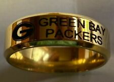 Green Bay Packers Team Titanium Rings, style #3, sizes 5-14