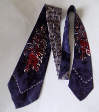 Vintage Rayon Jacquard Swing Tie Leaf Bouquet Navy Blue Burgundy Five Fold