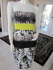 "BCBG MAX AZRIA White / Lime / Black ""Tara"" Shift Color Blocked Dress Size 6 NWOT"