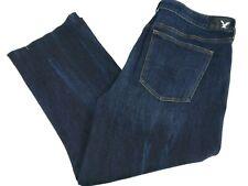 American Eagle Women Hi-Rise Kick Crop Denim Jeans Stretch Size 20 Dark Wash New