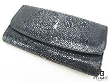 PELGIO Genuine Polished Stingray Skin Leather Women Trifold Clutch Wallet Black