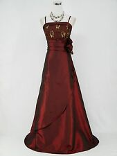 Cherlone Burgundy Long Ball Rose Wedding/Evening Gown Bridesmaid Dress UK 22-24