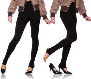 Black Thick Heavy Seamless Stirrup Leggings Warm Nap Fleece Stretch S901/906