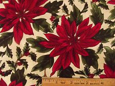 100% Cotton Sew Quilting Fabric Beautiful Christmas Pointsetta Flowers - BTY