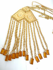 Vintage Open Back Set Dangle Amber Crystal Glass Earrings and 3 Chain Neckace