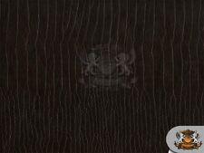 ALLIGATOR DARK BROWN CROCODILE VINYL FABRIC FAUX LEATHER