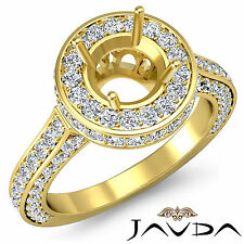 Diamond Engagement Filigree Ring Round Semi Mount Halo Pave 18k Yellow Gold 1.6C