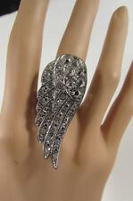 New Women Angel Wing Metal Fashion Ring Gold / Silver Rhinestones Elastic 1 Size