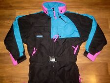 Vtg COLUMBIA Womens MEDIUM Snow Ski Suit BIB One piece NEON Jacket Coat Snowsuit