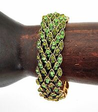 Asian Indian Style Green Faceted Crystal Bangle Cuff Bracelet Jewelry