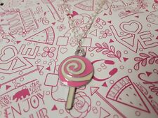 Cute pink lollipop kawaii sweet food charm chain necklace silver plated jewelry