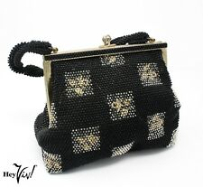 Beaded 50s Vintage Evening Purse - Black & Clear over Gold Embroidery - Hey Viv