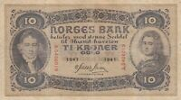 Vintage Banknote Norway 1941 10 Gold Kroner Pick 8c US Seller