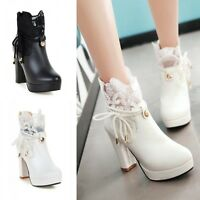 Women's Thick High Heel Platform Pump Ankle Boots Lace Bowknot Zip Leather Shoes