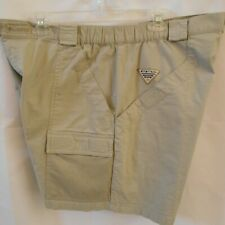 COLUMBIA PFG Size XL MENS Beige Khaki HALF MOON CARGO SHORTS Fishing