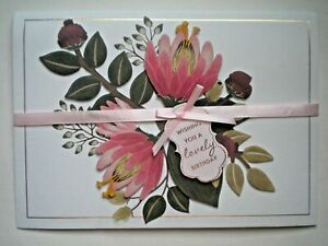 "C.R.Gibson ~ FLORAL ""WISHING YOU A LOVELY BIRTHDAY"" GREETING CARD + ENVELOPE"