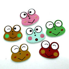 50pcs Lot Colorful Wood Frog Buttons DIY Crafts Apparel Sewing 2 Holes Cards