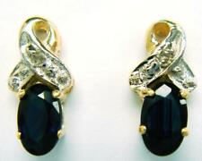 SYJEWELLERY 9CT YELLOW GOLD NATURAL SAPPHIRE & DIAMOND STUD EARRINGS   E823