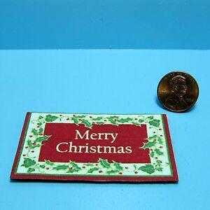 Dollhouse Miniature Christmas Door Mat Merry Christmas  RND287