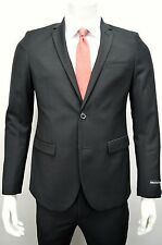 Men's Black 2 Button Slim Fit w/ Tapered Pants (Skinny) Suit SIZE 38S NEW