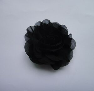 """Chiffon Fabric sewing corsage hair Rose Flowers Appliques Diy 3"""" 28color pick"""