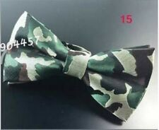 Unisex Novelty Fancy Dress Green Camouflage Pattern Bow Tie - Brand New