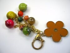 Collectible Keychain: Leather Flower Dangling Balls Colorful Design
