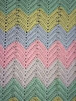 Hand Knitted Crochet Baby Blanket Pink Blue Green Yellow White 60in X 42in