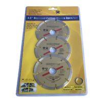 "3 x 115mm Diamond Cutting Discs 4.5"" Angle Grinder Blade, Brick Stone & Concrete"