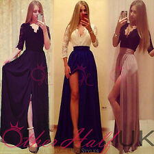 Lace Cocktail 3/4 Sleeve Maxi Dresses for Women