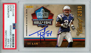 Ty Law Autographed/Signed 2019 Panini Hall Of Fame Trading Card PSA Slab 32992