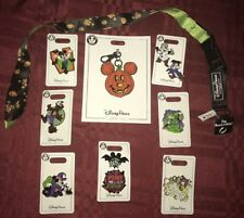 Disney Parks 2019 Halloween Pin Lot, Reversible Lanyard, & Lanyard Medal New