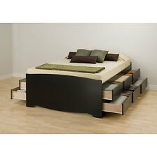 "Black Tall Queen 12 drawer Captain's Platform Storage Bed 63""X27""X81.5"" Wood"