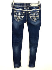 Rock Revival Jeans Hana Skinny Leg Thick Stitch Dark Wash Womens 25 Actual 27x30