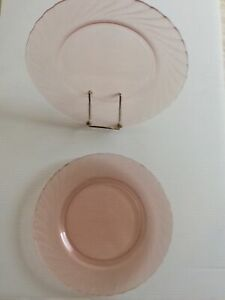 Five Vintage Arcoroc Pink Salad Plates